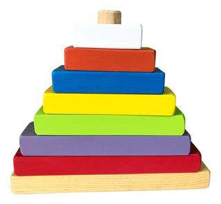 Pirámide Eje Central - Material Didáctico Para Niños -madera