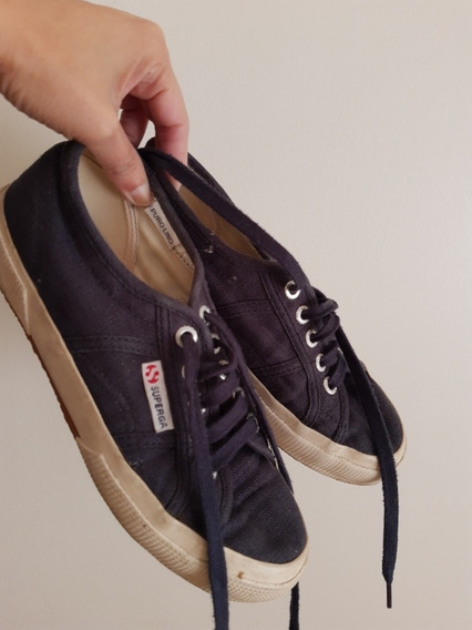 Oportunindad Zapatillas Superga Lino Azul Navy 35