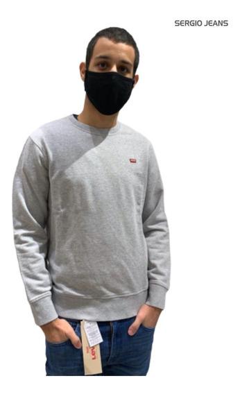 Buzo Levis Hombre Cuello Redondo Grisgraphic Crew Sweatshirt