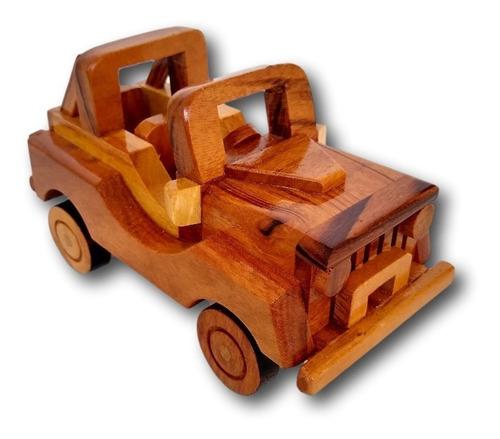 Carrinho Jeep De Madeira Miniatura Decoração Ref. 0686