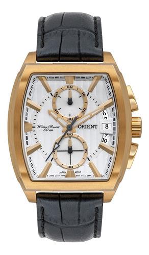 Relógio Orient Masculino Quadrado Dourado Ggscc003 Couro