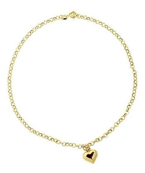 Tornozeleira Coração Ouro 18k - Cod 17173