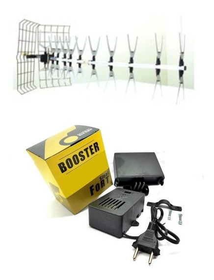 Antena Uhf Para Tv Lb 44 Edsat Nova 2 + Booster 40db Sf