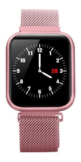 Relógio Inteligente P80 Saúde Fitness Rastreador Rosa