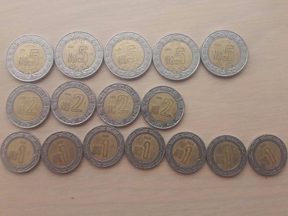 Monedas Nuevos Pesos De $5, $2 Y $1 De 1992-1995