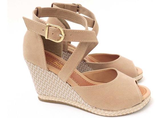 Sandalia Salto Anabela Feminina Couro Nobuk Premium