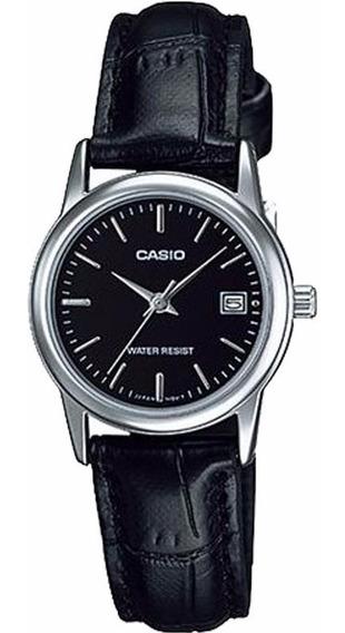 Relógio Feminino Casio Pequeno Couro Preto Caixa Prata Data