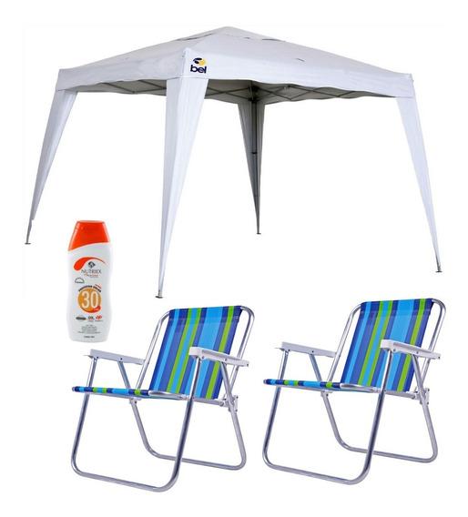 Tenda Gazebo Poliéster 3x3 Dobrável Belfix + Kit Cadeiras