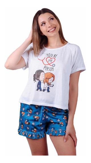 Conjunto Pijama Verano Serie Greys Anatomy Short Mujer