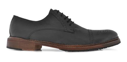 Zapato Hombre Cuero Briganti Suela Sport Negro - Hcac00806