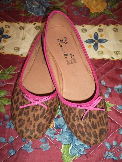 Zapatos Flats De Piso Animal Print Cafe Con Rosa Dama 4 Mex