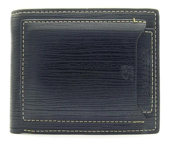 Oe53 Cartera Billetera Corta Hombre Cuero Piel Elegante Baellerry B326 10 Compartimientos Negro