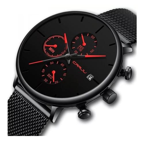 Relógio Crrju 2268 Cronógrafo Calendário Ultra Fino Vermelho