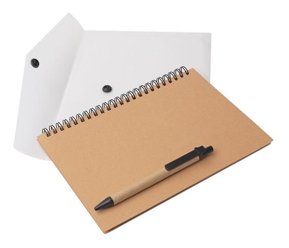 Cuaderno Y Bolígrafo Ecológico Hojas Rayadas En Sobre De Pvc