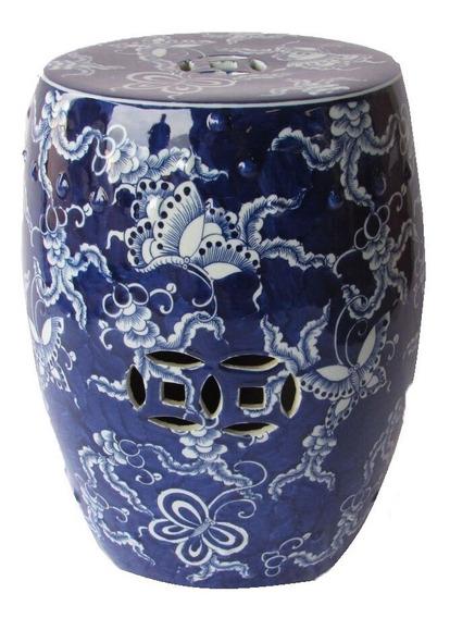 Garden Banqueta Azul De Cerâmica Borboletas 32dx44h Fcm056-g