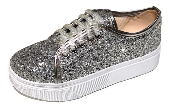Zapatillas Urbanas Sneakers De Glitter Para Nenas A.150r