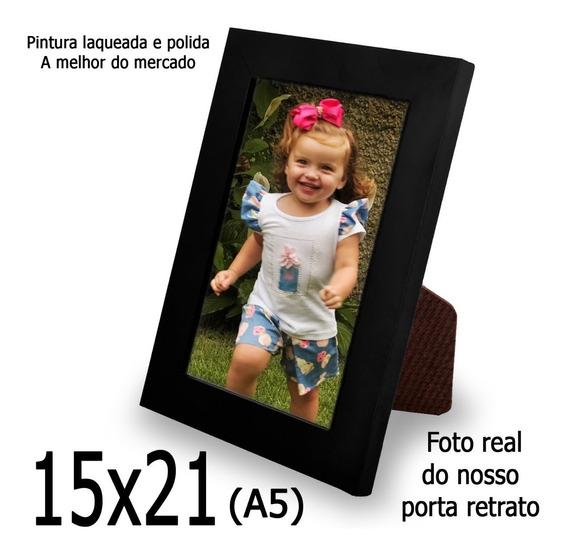 5 Porta Retrato Liso Laqueado Moldura 15x21 C/ Vidro