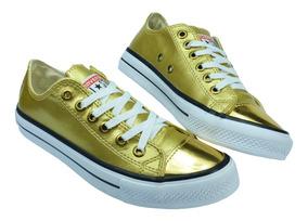 Tênis Feminino Converse All Star Bico Dourado Original