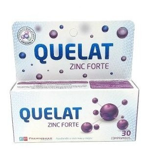 Quelat Zinc Forte Minerales Aminoquelados 30 Comp