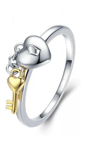 Anel Cadeado De Coração Com Chave - Importado