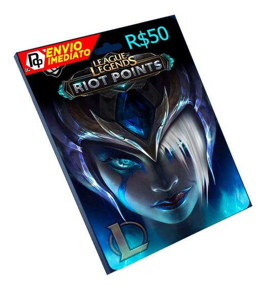 Cartão League Of Legends R$ 50 Reais Lol Rp Br Riot Points