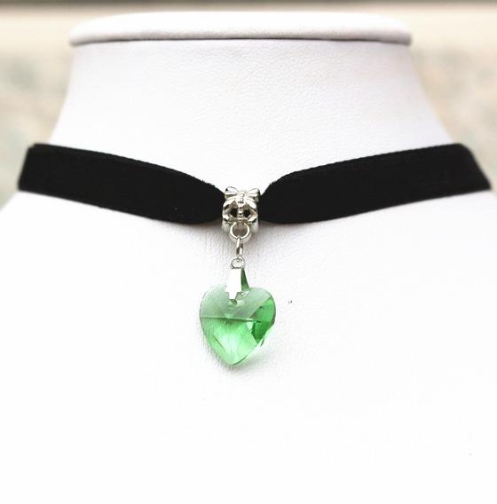 Collar Gargantilla Choker Corazón Verde Regalo Amor G-036