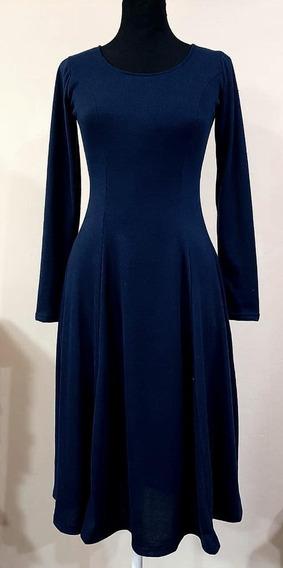 Vestidos Lanilla Lisos S-l-xl Azul Y Negro