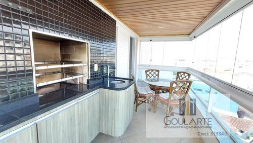 Imagem 1 de 30 de Cobertura Com Sacada Gourmet, 4 Suítes Climatizadas, Terraço E Lazer No Condomínio Na Praia Da Astúrias - Guarujá/sp. - 3561