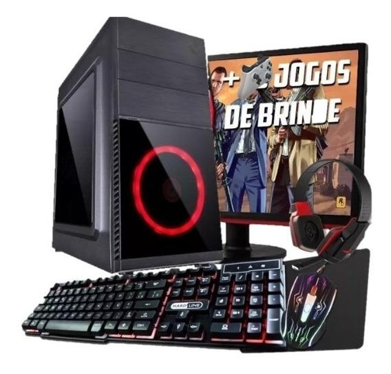 Computador Pc Game I5 Rx550 Ddr5 Hd 500gb Monitor 18,5