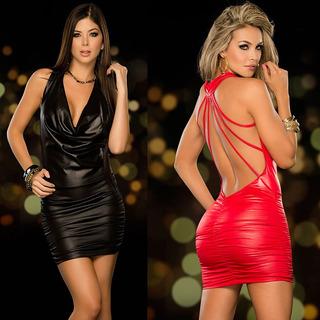 Sexy Mujeres Faux Cuero Bodycon Vestido Bodydoll Cortinas