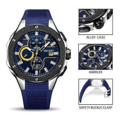 Relógio Masculino Megir 2053 Esporte Silicone Cronógrafo