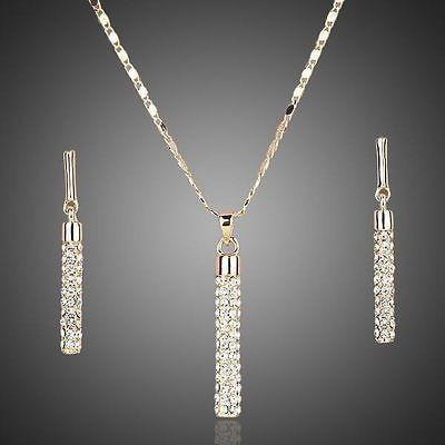 Collar Y Aretes De Dama Con Cristal Swarovski Hermoso Set!