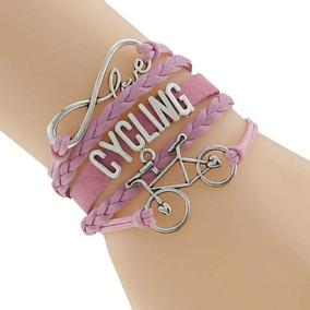Pulseira Em Couro Amor Infinito Bicicleta Rosa