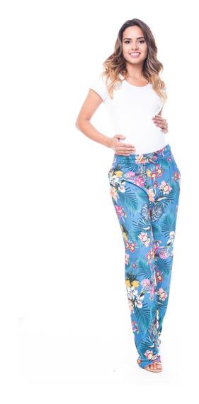 Calça Gestante Pijama Estampada Multicolorido