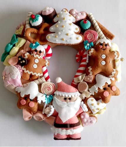 Imagem 1 de 7 de Guirlanda Doce Natal Em Feltro Candy Colors