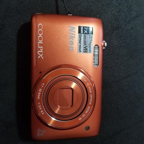 Maquina Fotografica Digital Nikon Coolpix S3500 Laranja