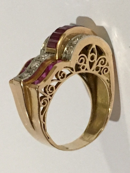 Anel Ouro 18k Brilhantes Rubis Antigo Maravilhoso
