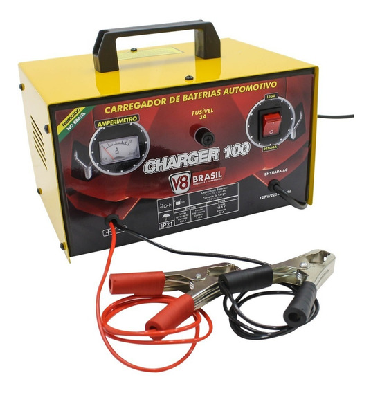 Carregador De Bateria Automotiva Bat 10 A 100 Amp V8 Brasil