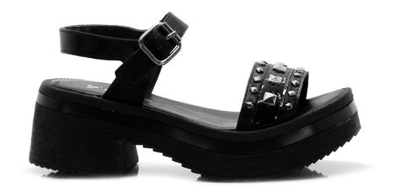Sandalia De Mujer Negra Con Apliques Verano Savage Moda