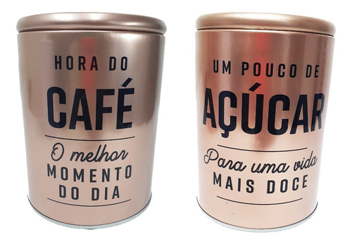 Kit 2 Porta Condimentos Premium Alimentos Café Açúcar Rosê