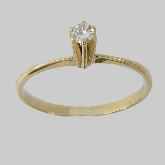 1291 Anel Solitário Com Diamante De Ouro 18k 750