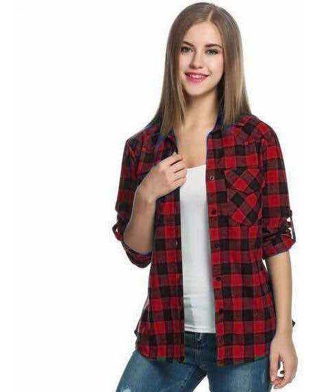 Camisa Escosesa Cuadros Dama Mujer Slim Fit Entalladas