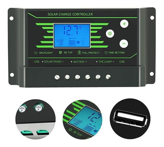 Controlador De Carga Solar 10a Usb Regulador Luz De Fundo