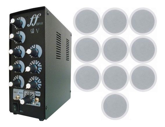 Kit 10 Caixa Som Arandela Embutir + Amplificador Setorizador
