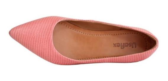Sapato Usaflex Bico Fino Confort Couro Legitimo 6601