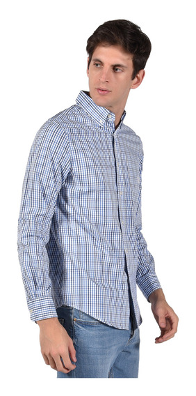 Camisa Stretch Fit Chaps Azul 750735464-35lc Hombre