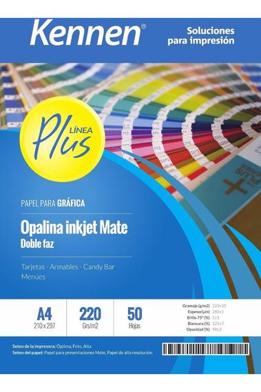 Papel Bifaz Kennen 220gr Mate P/ Tarjetas Carpetas 250h