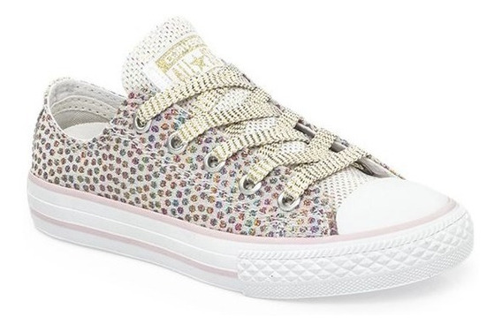 Zapatilla Converse All Star Blanco Rosa Brillo Glitter Niña