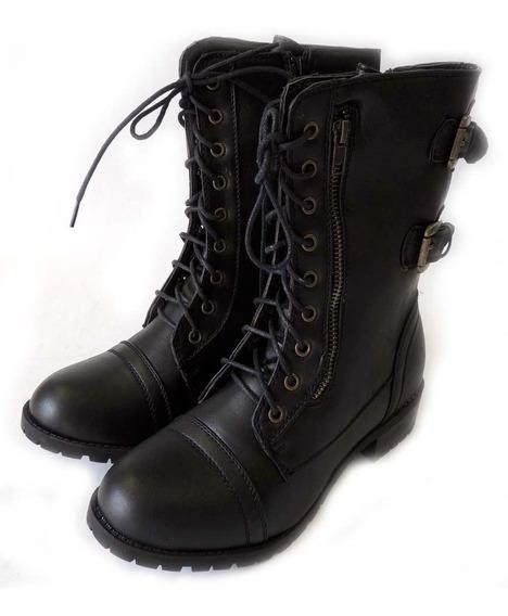 Bota Tipo Piel Zapato Botin Casual Vaquera Militar Tacon Dam