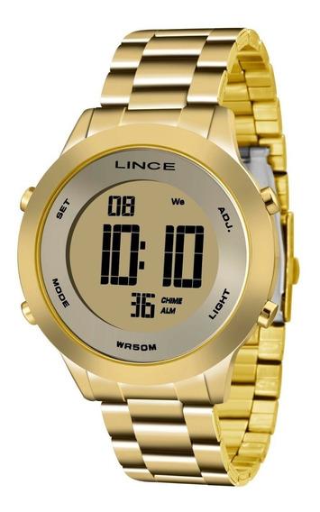 Relógio Dourado Feminino Lince Digital Sdph037l Kxkx